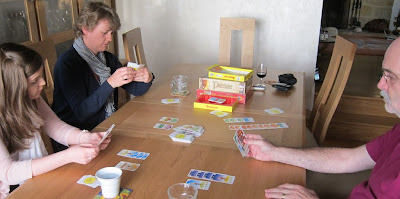 The players considering their options midway through a game of Bohnanza