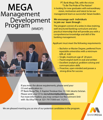 Karir Bank Mega Melalui Mega Management Development Program