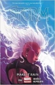 Cover of Storm Volume One, featuring a black woman with a white mohawk. She stands with her back to the viewer but her head twisted so she appears in profile. Lightning arcs across a blue and purple sky behind her.
