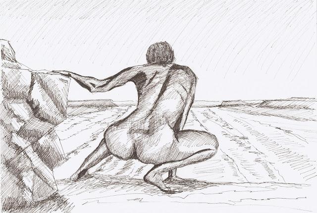 Allá voy. Autor: José M. Gallego. Técnica: Tinta sobre papel.