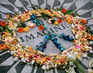 This is a peace sign made out of flowers.