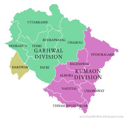 Map of Uttarakhand  Three regionsUttarakhand Map 2012