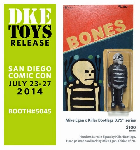 San Diego Comic-Con2014 Exclusive Mike Egan x Killer Bootlegs Bones Resin Figures - Black Bones with Adventure People Blister Card