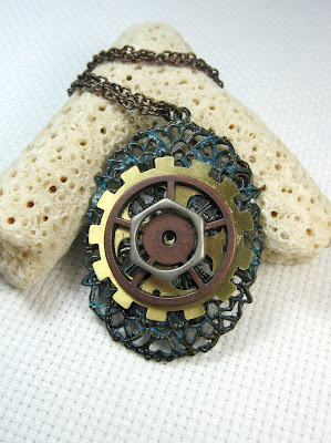 Gear and cog pendant