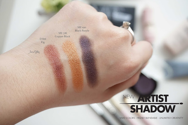 makeup Forever, artist shadow, me 728, d 826, me 930, review, swatch