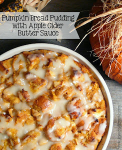 Pumpkin Bread Pudding with Apple Cider Sauce