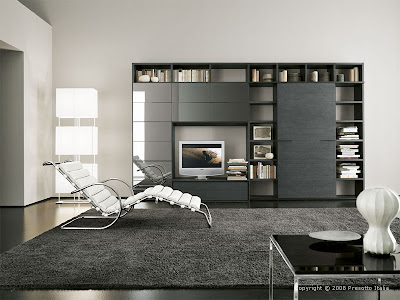 black and white modern living room design