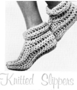 The Vintage Pattern Files Free 1960s Knitting Pattern - Knitted Slippers