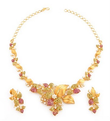 gold fancy necklace sets with colour stones
