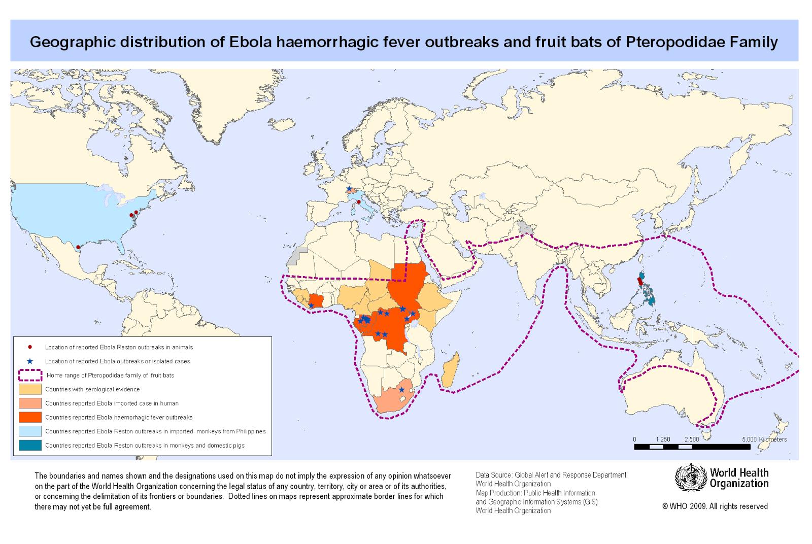 Mapa de los brotes de Ébola