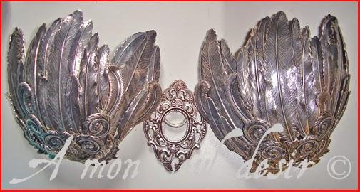 armure poitrine plumes argent oiseau silver feathers bra armour armur bird