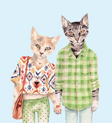 cat art, cats dressed in clothes, meow