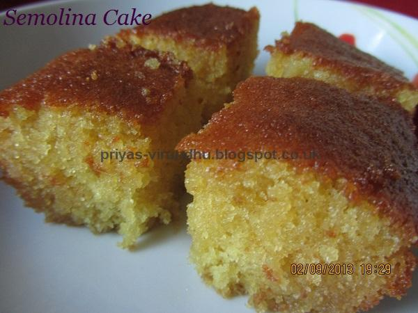 Priya's Virundhu....: Honey Drizzled Semolina Cake/Basbousa