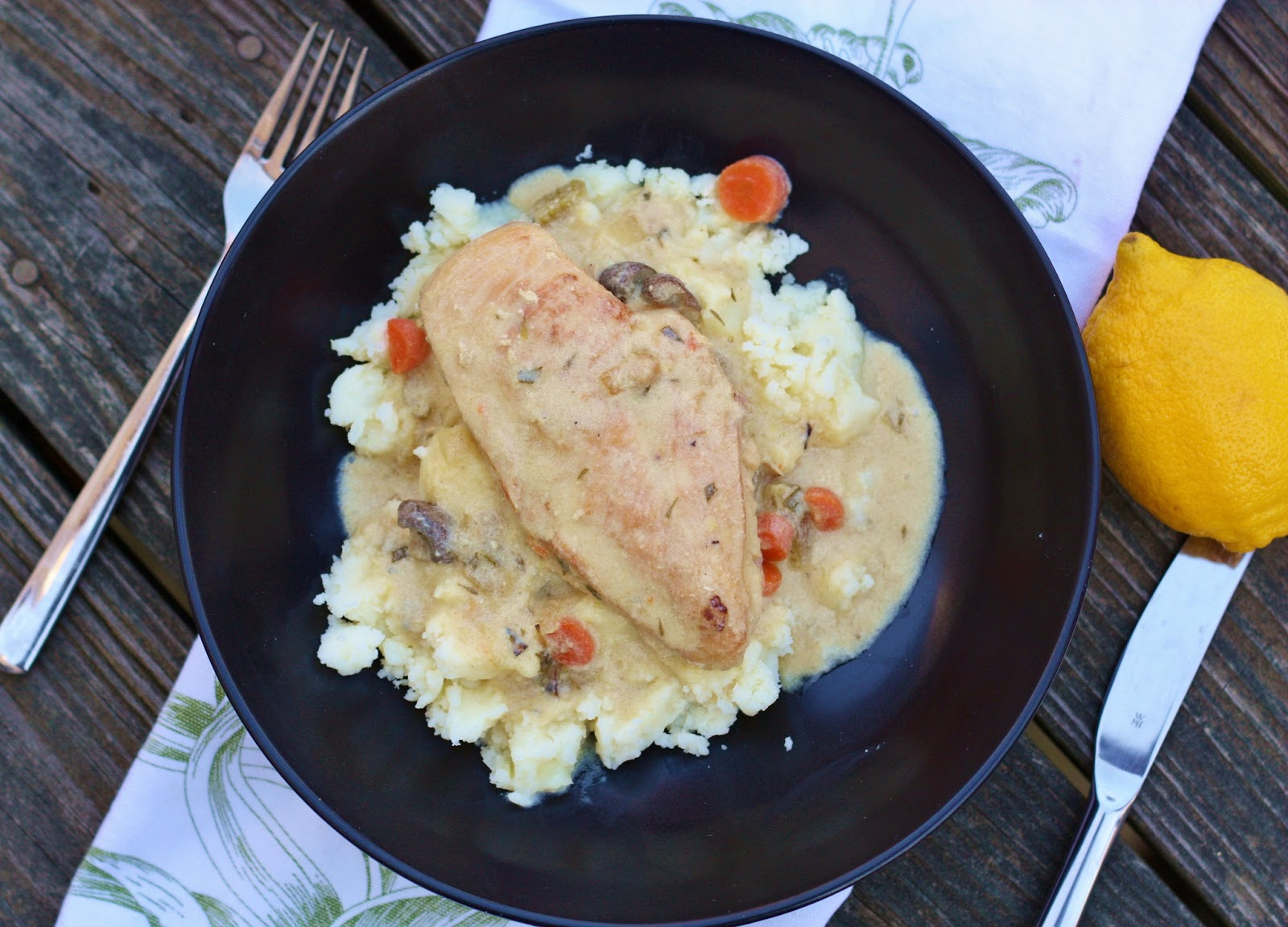 eats and beats: fancy dinner party menu: chicken fricassee