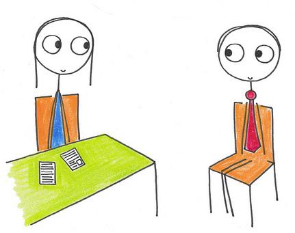 A cartoon of an interview