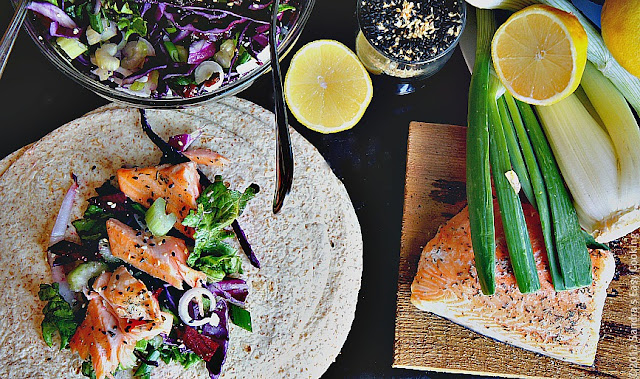 Salmon and Salad Wraps