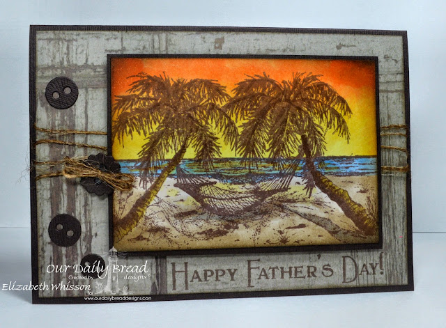 Our Daily Bread Designs, Happy Father's Day, Happy Retirement, Matting Circles Dies, Designed by Elizabeth Whisson, Copics, sunset, beach