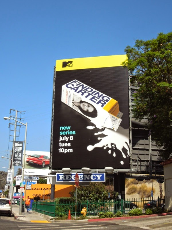 Finding Carter series premiere milk carton billboard