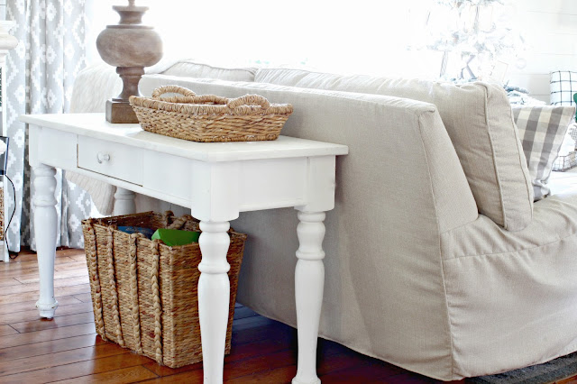 White painted sofa table with Birch Lane Montgomery Slipcovered sofa - www.goldenboysandme.com