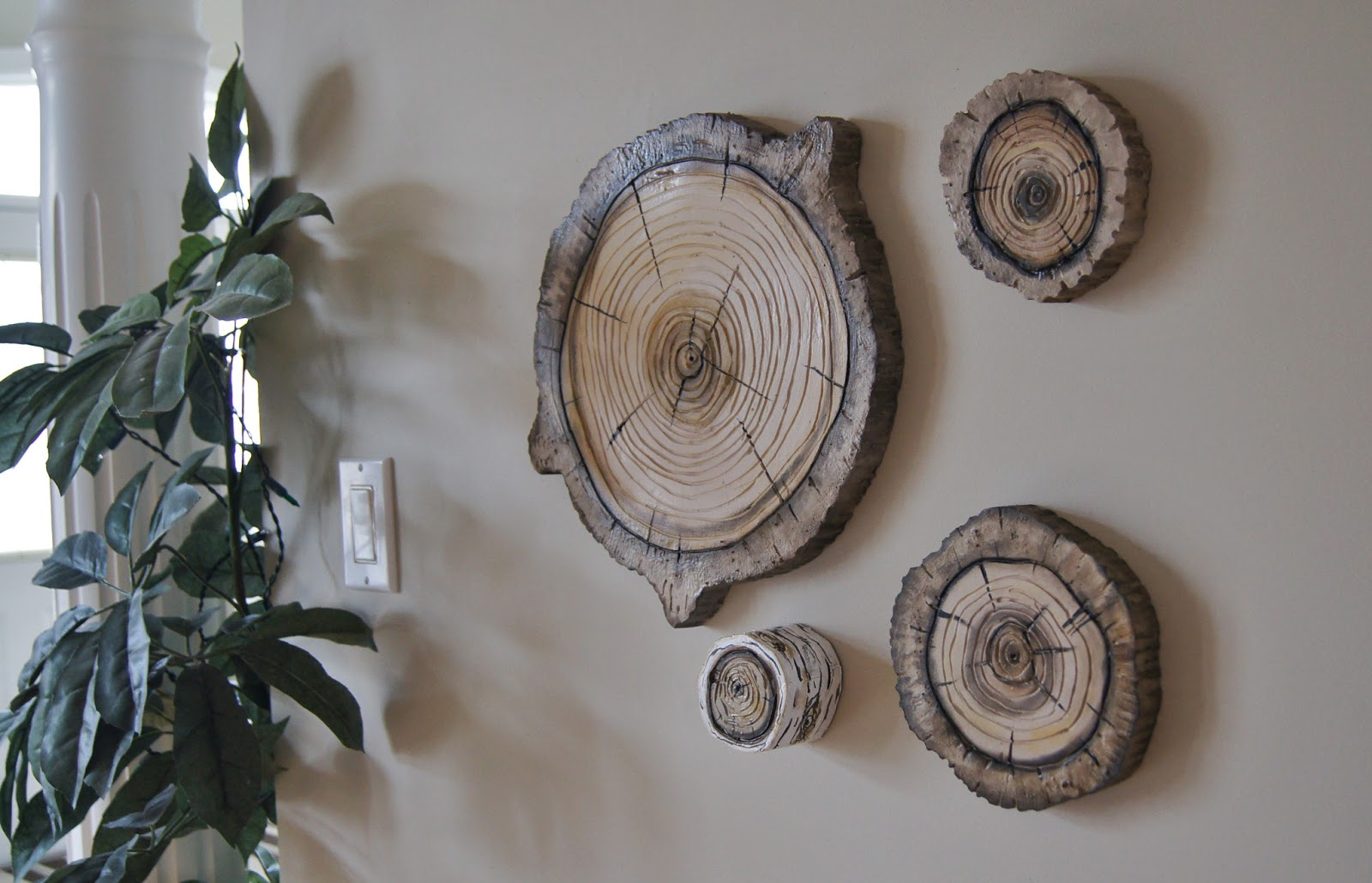 Artistic environments natural woodland wall art plaques for Tree trunk wall art