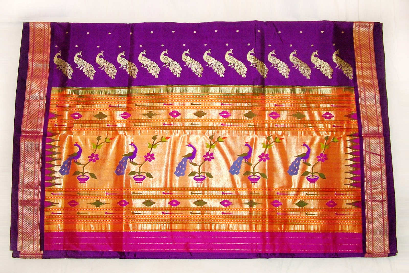 Paithani Saree with Peacock Motif Pallu
