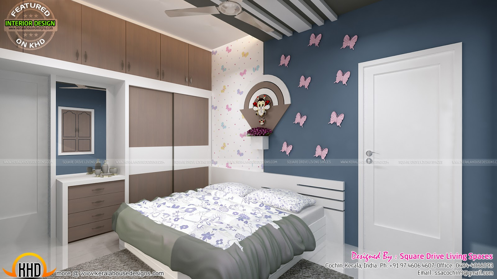 Kids room home theater and bedroom interior kerala home for Kerala home interior design bedroom