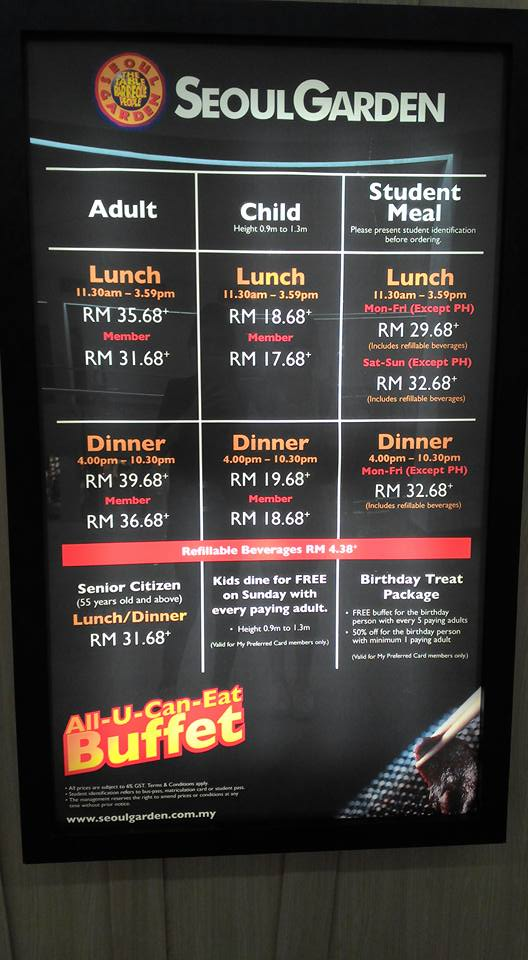 Seoul garden restaurant price list miri food sharing for X cuisine miri menu