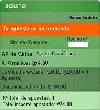 Apuestas Deportivas Rosberg Formula 1- Gran Premio de China Grosjean