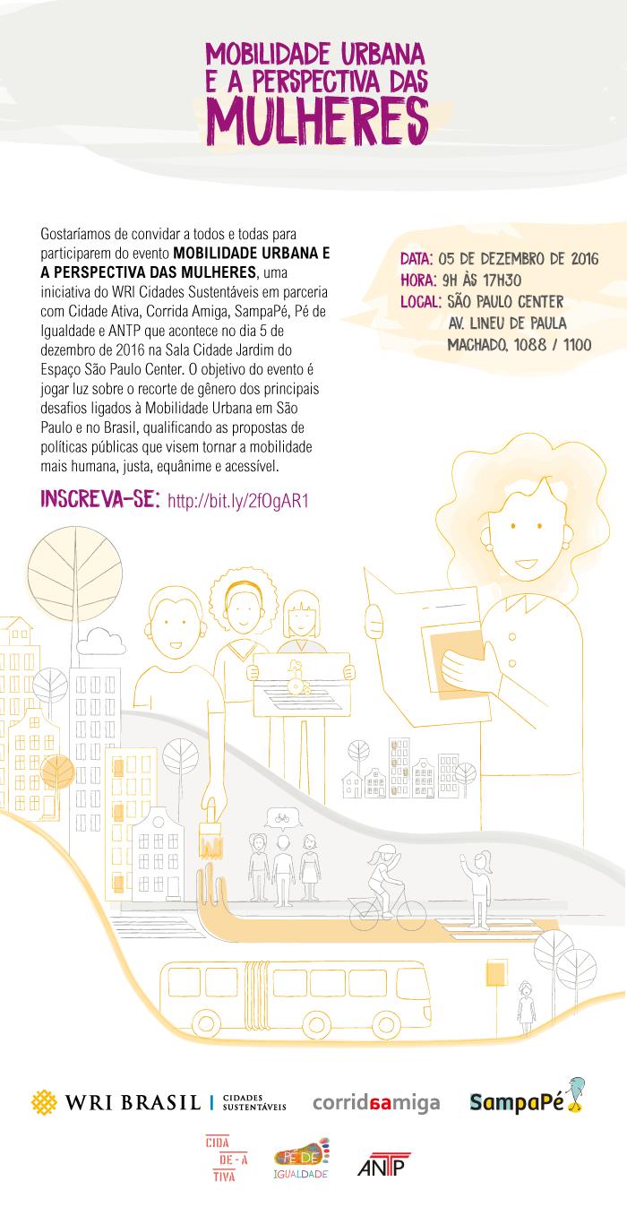 Mobilidade Urbana e a Perspectiva das MULHERES, 5 dezembro, das 9 às 17:30, São Paulo Center
