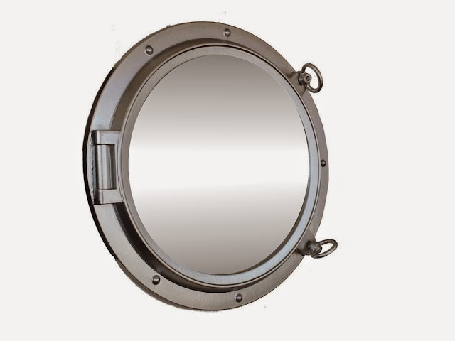 Silver Porthole mirror for decoration