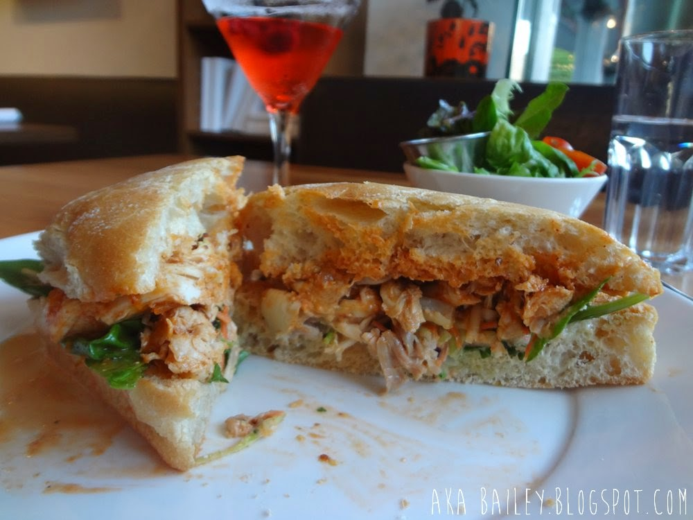 Pulled chicken and slaw sandwich from Abode on Robson St. in Vancouver