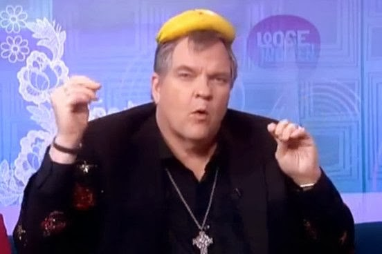 Meat Loaf wears a banana on his head