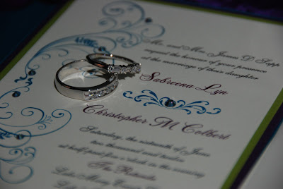 peacock wedding stationary rings