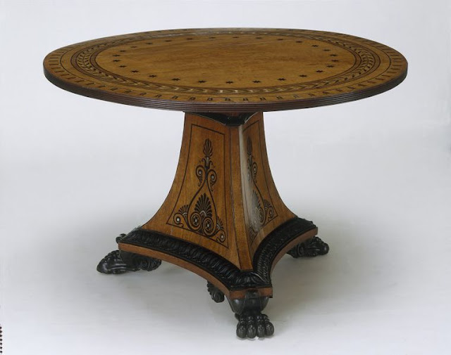 Table, ca. 1805, Mahogany, inlaid with ebony and silver, and carved in relief, Victoria and Albert Museum. London, UK.