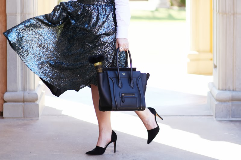 celine-mini-tote-dorsay-pumps-emerald-sequin-full-midi-skirt-new-years-eve-party-outfit-ideas