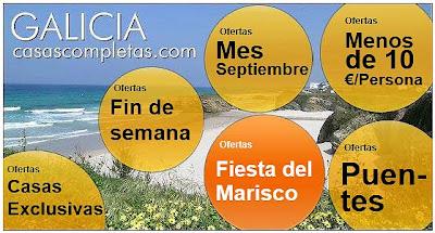 ofertas de casas completas, pisos, apartamentos, bungalows, alojamientos, alquiler íntegro, en la Fiesta del Marisco, O Grove, Pontevedra, Rías Bajas, Rías Baixas, del 1 al 15 de octubre, degustación de mariscos y pescados