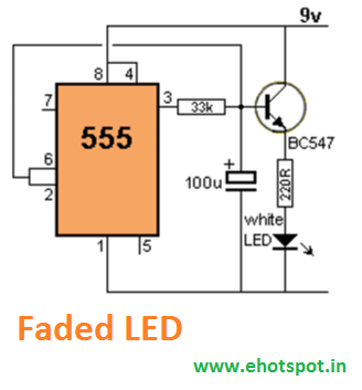 LED Fading/Blinking using 555 IC ~ Electronics Hotspot
