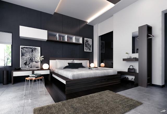 couleur Mur pour chambre avec meubles sombres : idu00e9es du00e9co moderne