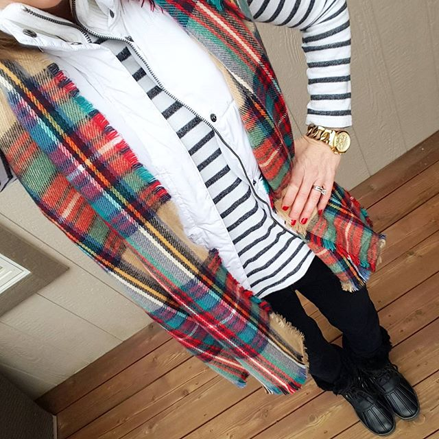 Forever 21 Striped Shirt (this year's version) // Merona Puffer Vest (similar) // Zella Live In Leggings // Merona Scarf (similar in full blanket scarf size) // Nine West Duck Boots (similar) // Michael Kors Runway Watch