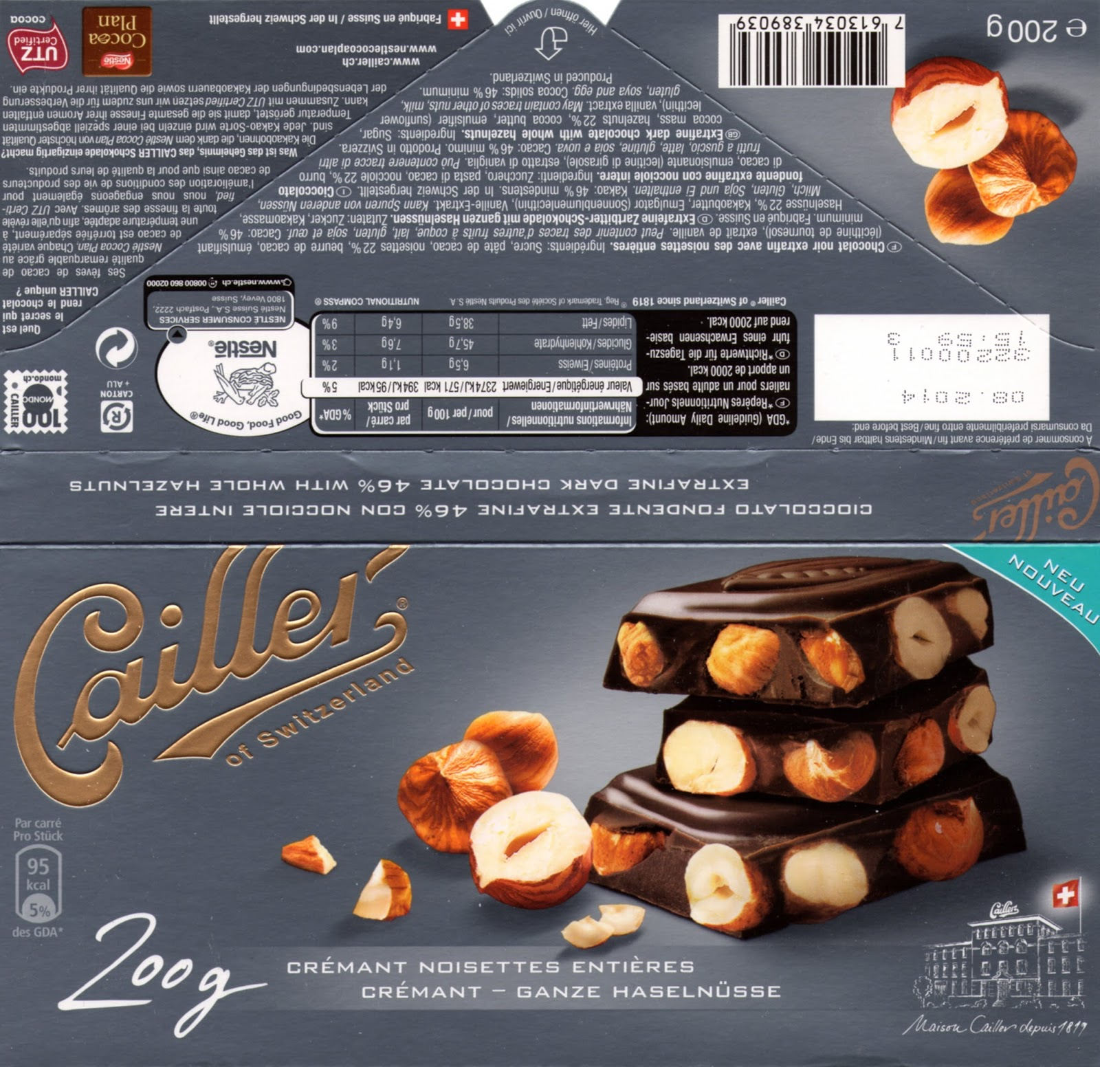 tablette de chocolat noir gourmand cailler noir crémant noisettes entières