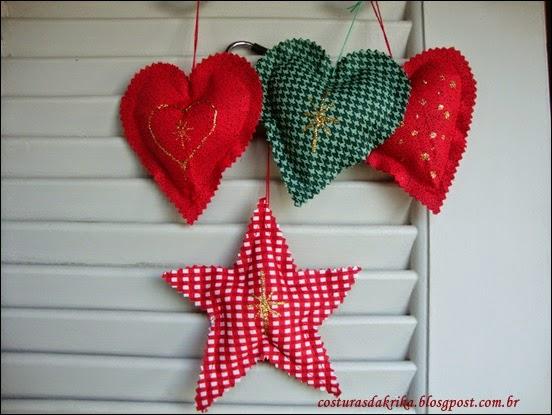 corações em tecido