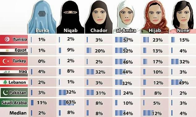 كيف يحب العرب نوع زي المرأة ؟ احصائية للدول العربية