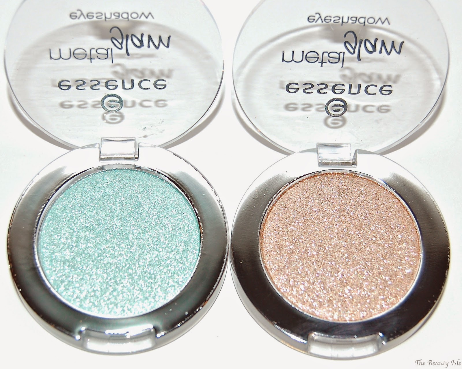 Essence Cosmetics Metal Glam Eye Shadows in Sugar Mint Candy & Hello Goldie!
