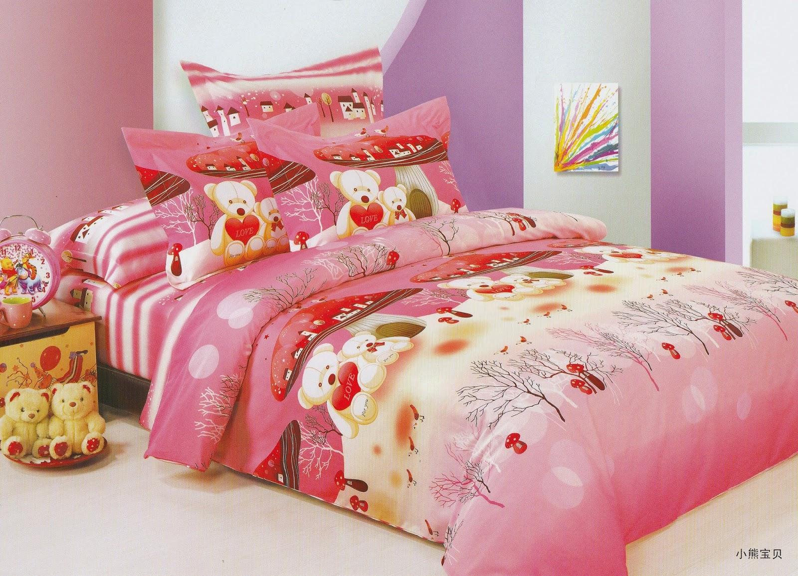 Sprei Anak Motif Teddy Bear Love Pink
