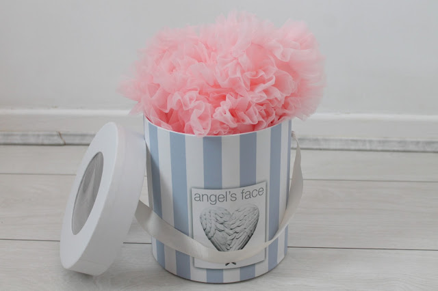 angel's face pink baby tutu in hat box