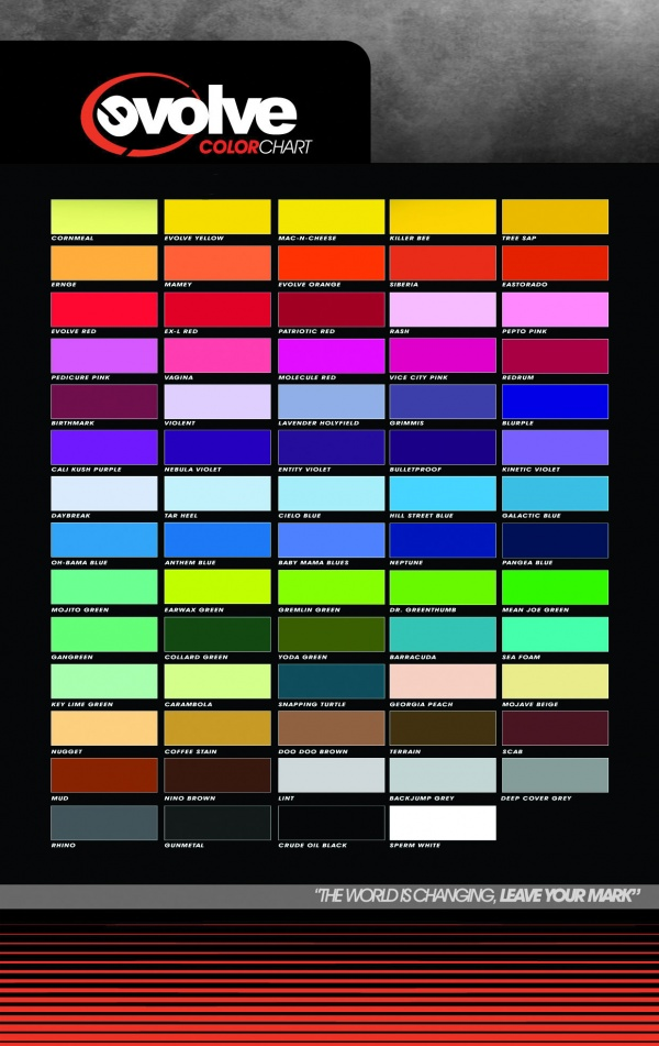 Fat Cap Magazine Evolve Premium Color Chart