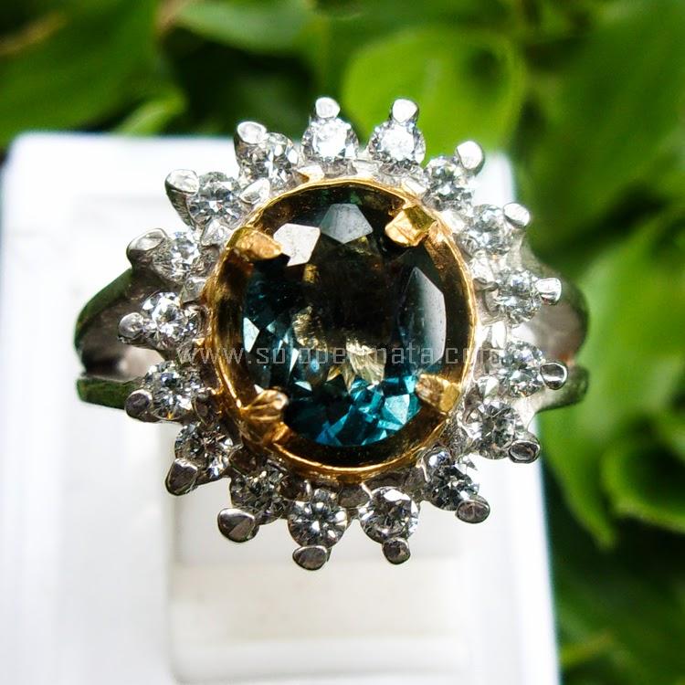 Cincin Batu Permata Blue Topas Ring Cewek - SP517