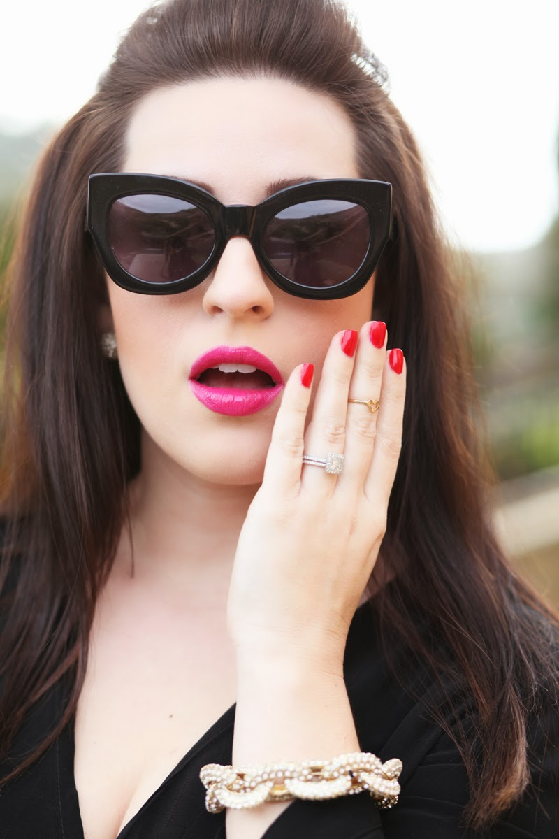 karen-walker-northern-lights-sunglasses-pave-link-bracelet-red-nailpolish-pink-lipstick-valentines-day-outfit-and-makeup-ideas-king-and-kind