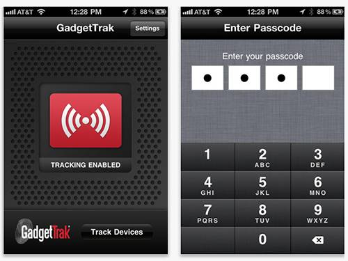 Aplicativo GadgetTrack para iPhone e iPad