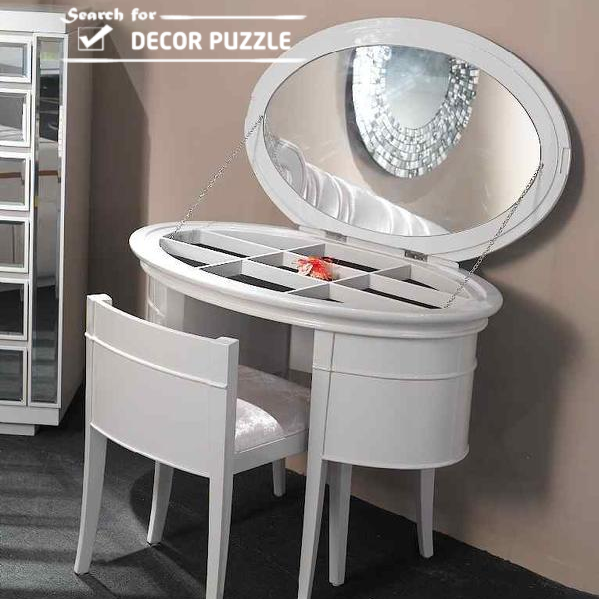 makeup dressing table designs, modern white dressing table